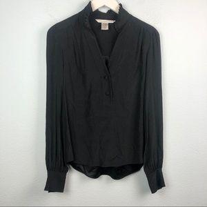 DvF black silk pleated collar long sleeve blouse